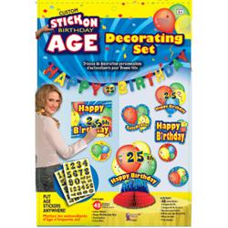 CUSTOM STICK ON BIRTHDAY AGE DECORATING SET