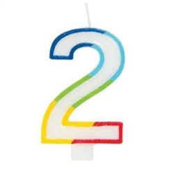 RAINBOW BORDER CANDLE NUMERAL TWO