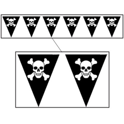 BANNER PENNANT JOLLY ROGER PIRATE
