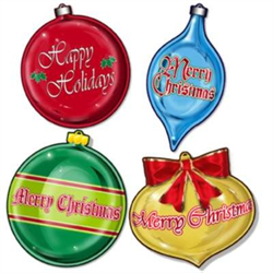 CHRISTMAS ORNAMENT CUTOUTS 16'' 4/PKG