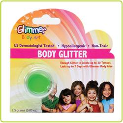 (*) GLITTER BODY ART GLITTER - UV NEON GREEN