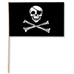 PIRATE FLAG PLASTIC 11X17 W/22'' STICK