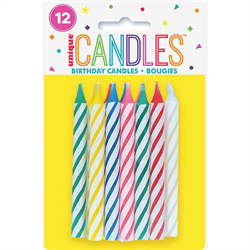 SPIRAL BIRTHDAY CANDLES - 12 PER PACKAGE