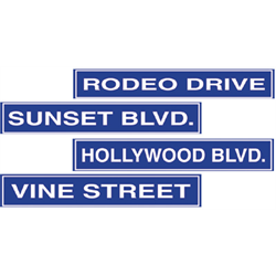 STREET SIGN HOLLYWOOD CUTOUTS 4/PKG