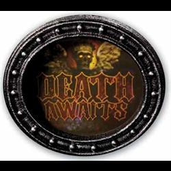 ENTER / DEATH AWAITS GORTRAIT SIGN