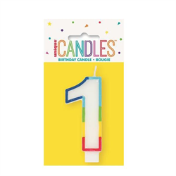 RAINBOW BORDER CANDLE NUMERAL ONE