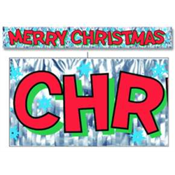 BANNER MERRY CHRISTMAS METALLIC