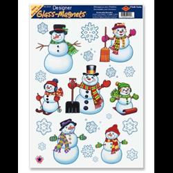 GLASS MAGNET SNOWMAN/SNOWFLAKE 16/CARD