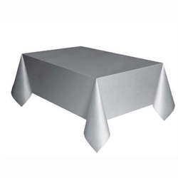 RECTANGULAR TABLE COVER PLASTIC SILVER