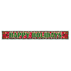 BANNER HAPPY HOLIDAYS METALLIC 8''X5'