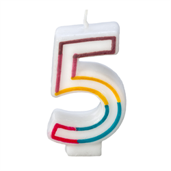 RAINBOW BORDER CANDLE NUMERAL FIVE
