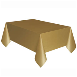 RECTANGULAR TABLE COVER PLASTIC GOLD